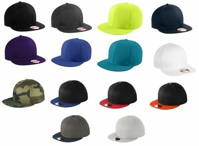 huge discount 1ddff 763fe New Era 9FIFTY Flat Brim Snapback Hat Cap -Blank - White, Black, Royal