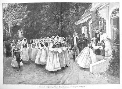 Provinz Posen, Polen, Erntefest, Riesen--Holzstich von ca. 1890