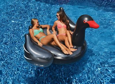 Swimline Giant Inflatable Ride-On 75-Inch Opaque Black Swan Pool Float | 90628 (Pool Swan)