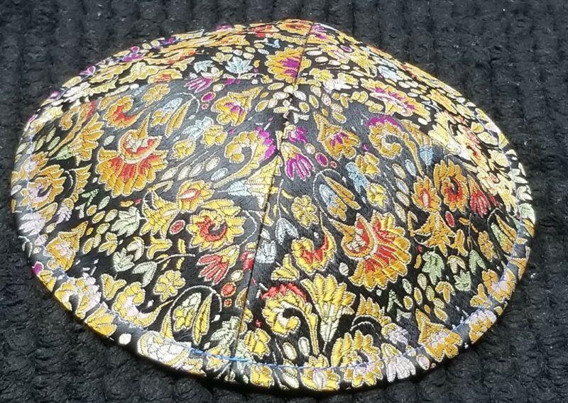 Floral Embroidered Klipped Kippah - Yarmulke
