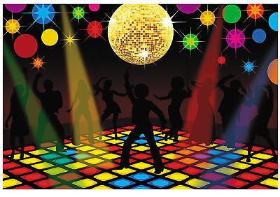 Dance Floor DISCO Ball Party Backdrop PHOTO PROP Party Pics Banner Decor 70's