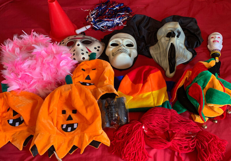 Halloween Lot Of Masks, Hats And Accessories