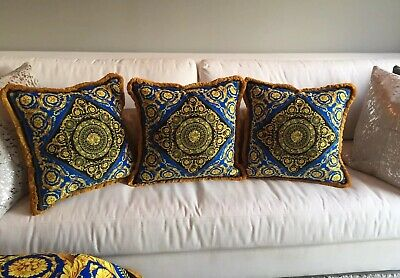 Set Of 3 Baroque Gold Blue Versace Custom Made Pillows 20/20 Inch Velvet