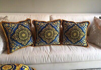 Set Of 3 Baroque Gold Blue Versace Custom Made Pillows 20/20 Inch Velvet