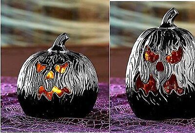 Scary Black Face Lighted Pumpkin Indoor Décor Ceramic Charred Halloween Pumpkin