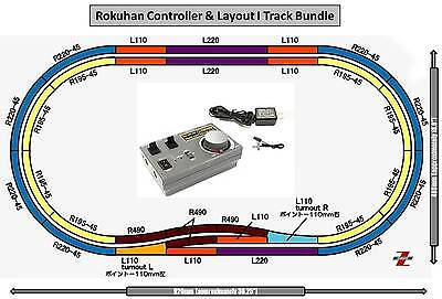Rokuhan Z Scale Double Oval Layout I With RC03 Controller & Wall Adapter