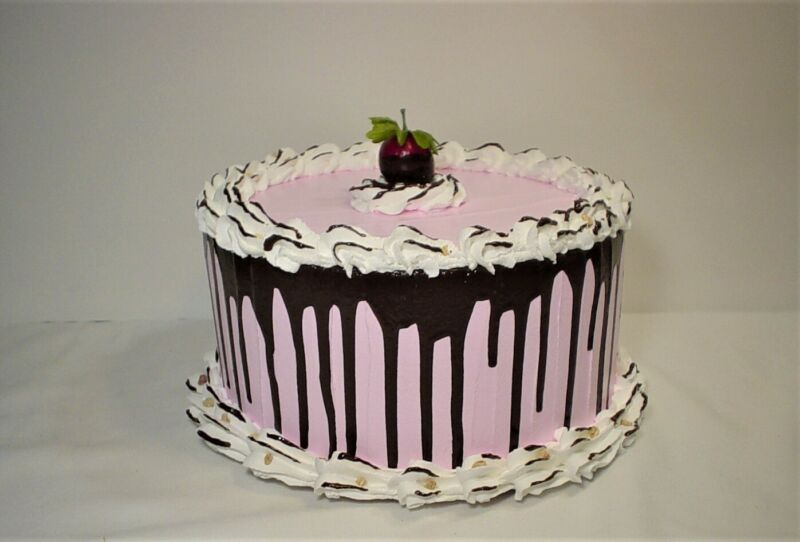 """Fake Food Faux Strawberry Cake With White Border and Chocolate Drip 8"""" x 4"""""""
