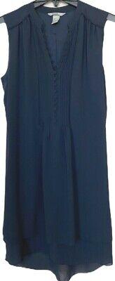 H & M Sz 6 Women's Dress Dark Navy Sleeveless Lined Below Knees Front Buttons