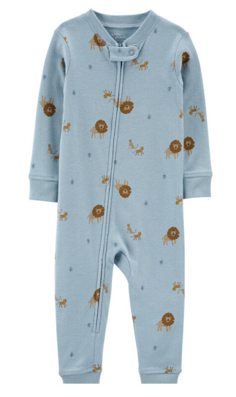 Carters Organic Snug Fit Cotton Footless PJs Pajamas Blue/Lion 12M NWT SOLD OUT