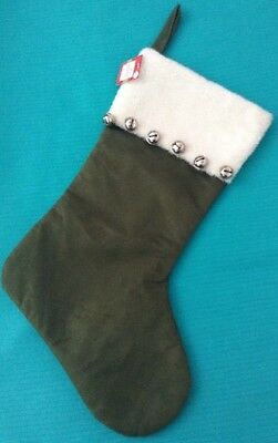 Green Christmas Stocking Faux Suede & Faux Fur Top Bells Decor NWT](Green Christmas Stocking)