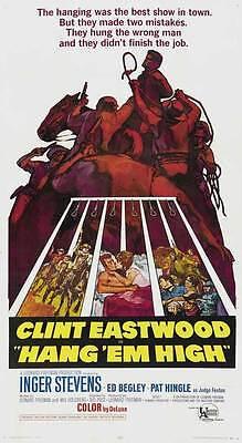 Hang Em High Movie Poster 27X40 C Clint Eastwood Inger Stevens Ed Begley Sr  Pat