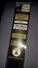 Black Venetian blind. Brand new still in box. Bought wrong size. 4 foot wide. 5 foot drop. £7.00