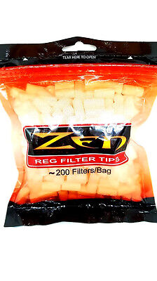 Zen Premium Regular Filter Tips 200 Pieces Resealble Bag Ryo Rolling Tobacco New