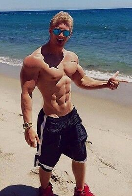 Shirtless Male Beefcake Muscular Blond Haired Ripped Beach Dude PHOTO 4X6 D1037