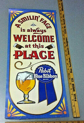 Vintage PBR Pabst Blue Ribbon Beer Poster Print A Smilin' Face is Always Welcome