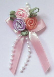 Triple Trio Roses Satin Ribbon Bows With Pearls x 5 - * Choose Your Colour *