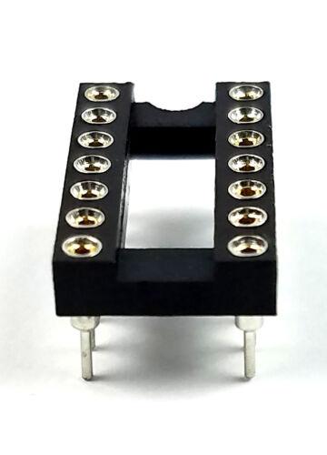 5PCS IC Sockets DIP-14 Machined Round Contact Pins Holes 2.54mm DIP14 DIP 14
