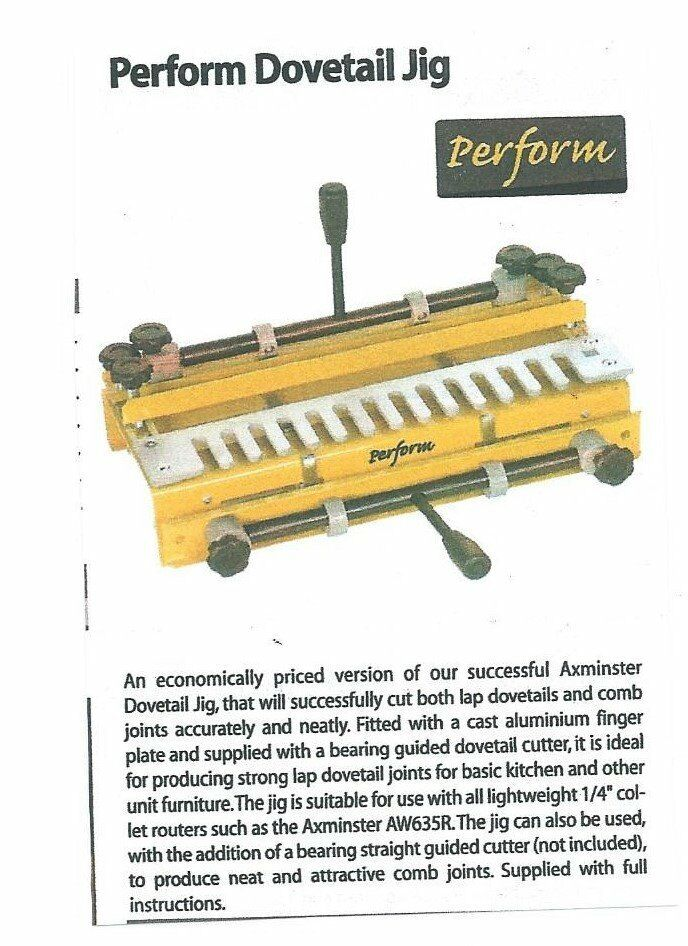 Perform Dovetail Jig. Boxed. Never used. C/W Instructions