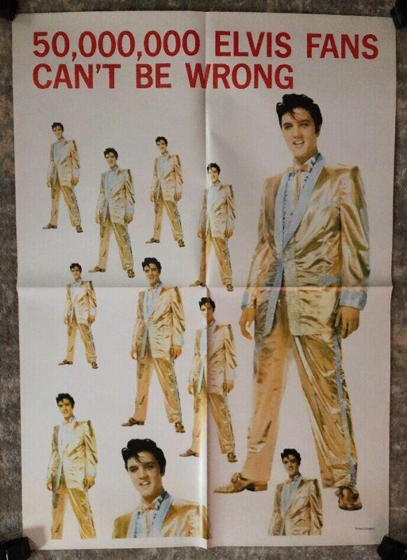 Elvis Presley Original Vintage Poster Pin-up 50,000,000 Fans Can't Be Wrong King