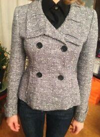 Designer tailored grey fitted jacket Size 8 UK boucle tweed