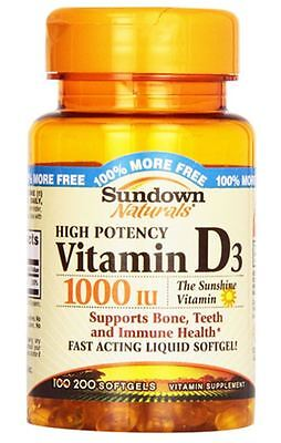 Sundown Naturals High Potency D3 Vitamin D 1000 IU Softgels 100 ea