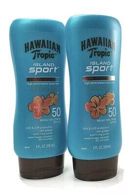 Hawaiian Tropic Island Sport SPF50 Ultra Light Lotion Sunscreen Lot x 2 8 FL -
