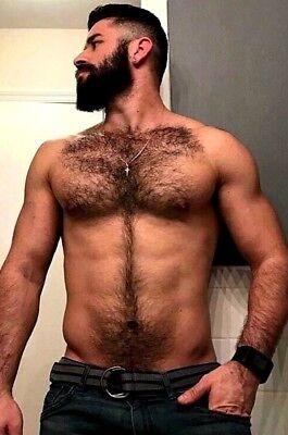 Shirtless Male Muscular Beefcake Masculine Hairy Chest Abs Beard PHOTO 4X6 F1508