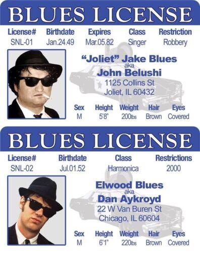 Jake & Elwood Blues 2 IDs from Blues Brothers Movie Fake Joke Drivers License