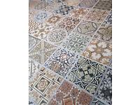 FIVE 44 x 44cm Patchwork Moroccan Style Porcelain Tiles Kitchen Bathroom BRAND NEW