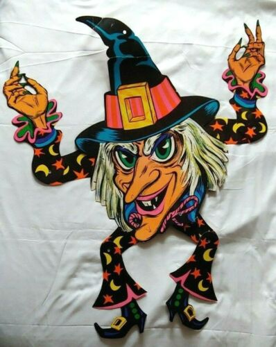 """Vintage Halloween Beistle Jointed 30"""" Moons & Stars Witch Die Cut Decoration"""