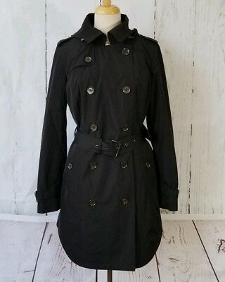 MICHAEL Michael Kors Womens Double Breasted Hooded Trench Coat Blk NEW Sz Small  Breasted Hooded Trench Coat