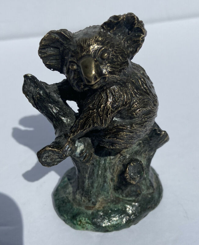 "2 1/2"" VINTAGE JOSEPH ADDOTTA SOLID BRONZE KOALA IN TREE SCULPTURE FIGURINE"