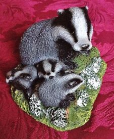BADGER AND THREE CUBS by P.J. DUTT - HAND MADE in DEVON