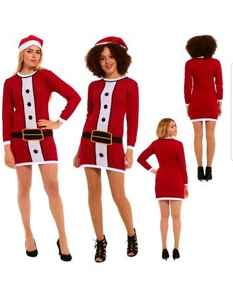 Christmas Jumper Day Retro Knitted Tunic Santa Mrs Claus Long Red Dress 18 20 22 ()