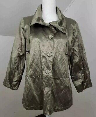 Chicos Womens Jacket Metallic Long Sleeves Drawstring Pocket Buttons Lined M/8 1