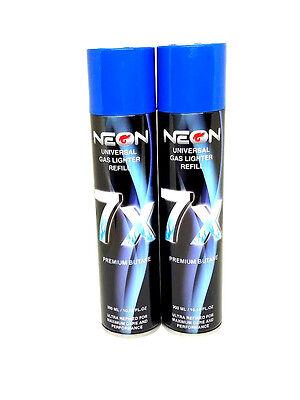 Neon 7X Butane 300ML EA -New- Fuel 2 Pack (cans) - Plus 5 Adaptor Tips ea
