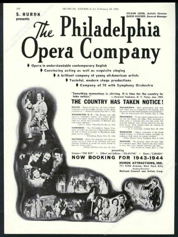 1943 Philadelphia Opera Company 6 photo USA tour booking trade print ad