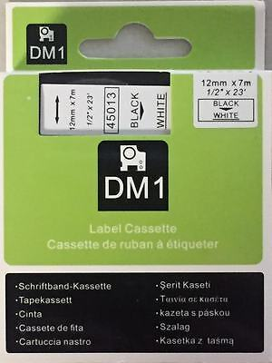 1 Dymo Compatible D1 Labels Black On White Labeling Tape 45013 12 X 23