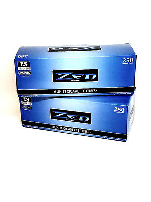 2 Zen Blue Light King Cigarette Tubes Box 250 ct. ea White Filter Tubes NEW USA