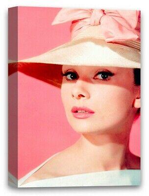 Audrey Hepburn Canvas Art Housewarming Decor Gift Hepburn Pink Hat Portrait