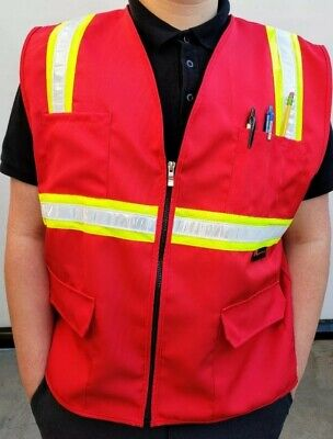 Fx Two Tone Hi-vis Red Safety Vest With 4 Front Pocket Size Small