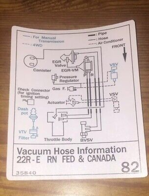 1987 Toyota Pickup Truck/4runner Vacuum Diagram Decal Repro Sticker FED 22re 82