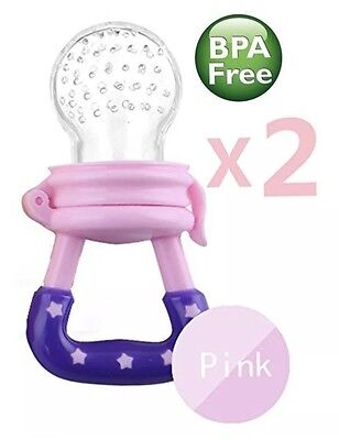 2 Pack Lot Pacifiers Baby Toddler Food Feeder Teething Pacifier Silicone Teether