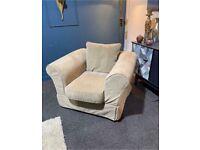 Next cream plush velvet fabric armchair