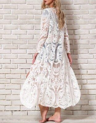 Maxi Kimono Vestido Bordado Kaftán Encaje Larga One Size M
