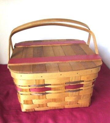 VTG Square Slat Picnic Basket w Pie Shelf, Double Handles, Woven, Decorative USA - Picnic Baskets Wholesale