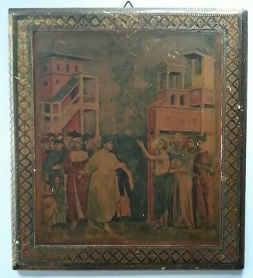"St. Francis Icon On Wood Italian ""St. Francis waives his inheritance"" Giotto"