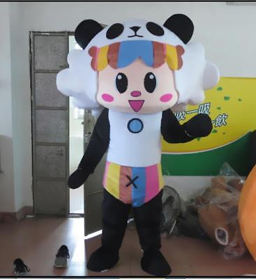 Panda Bear Halloween Costume For Adults (Halloween Panda Bear Mascot Costume Suits Cosplay Party Dress Adults Outfits)