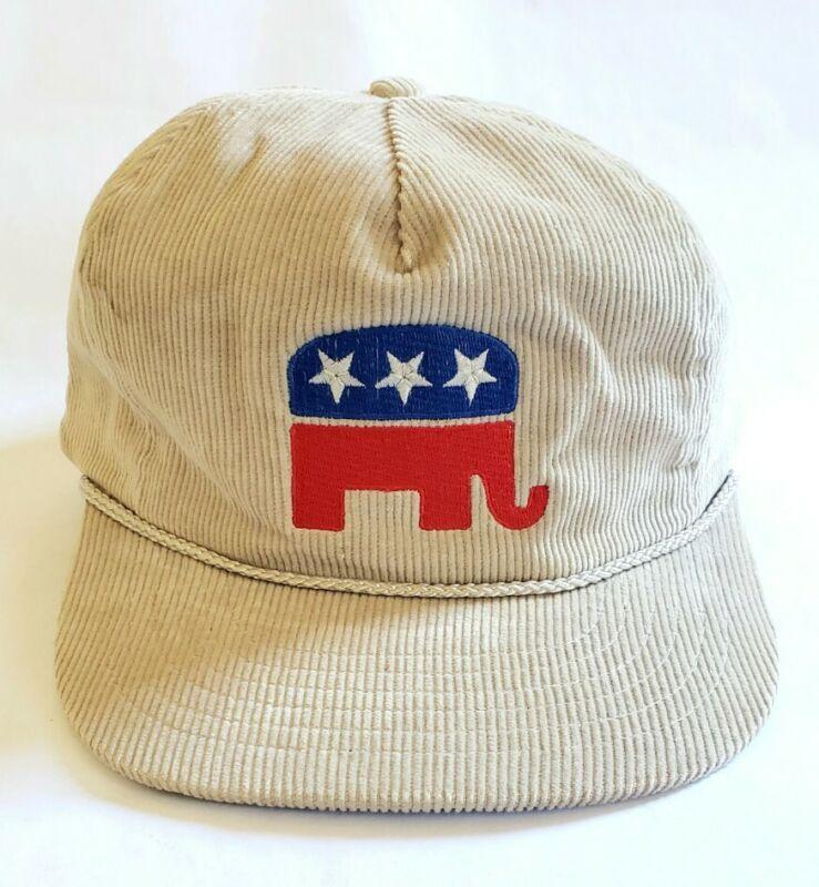 VINTAGE 1990s REPUBLICAN PARTY CORDUROY HAT ELEPHANT USA AMERICANA TRUMP REAGAN