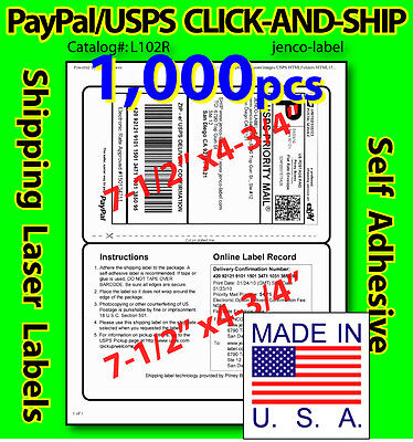 L102R, 1,000 PAYPAL/USPS CLICK-AND-SHIP Shipping Labels